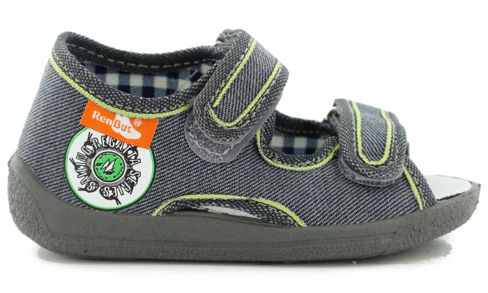 Sandale baieti gri-verde (cu scai), din material textil 2