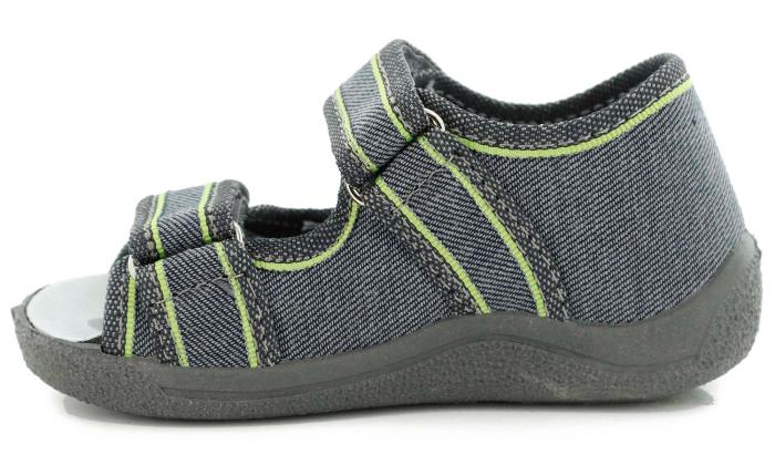 Sandale baieti gri-verde (cu scai), din material textil 3