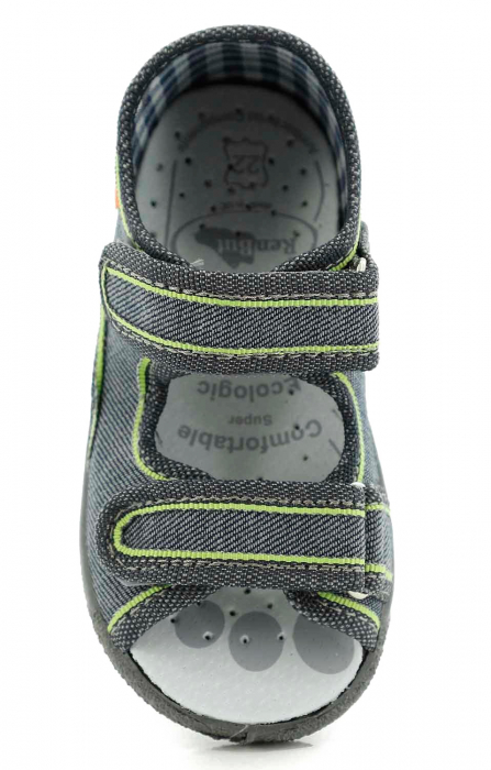Sandale baieti gri-verde (cu scai), din material textil 4