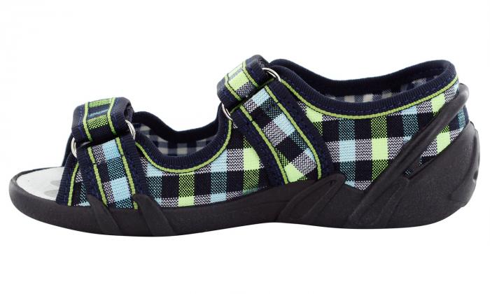 Sandale baieti in carouri colorate (cu scai), din material textil 3