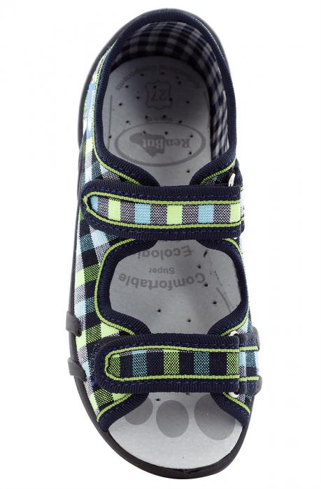 Sandale baieti in carouri colorate (cu scai), din material textil 4