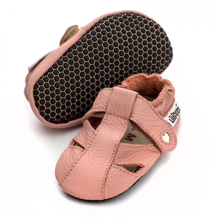 Sandale cu talpă moale Liliputi cu crampoane antialunecare - Cotton Candy 0