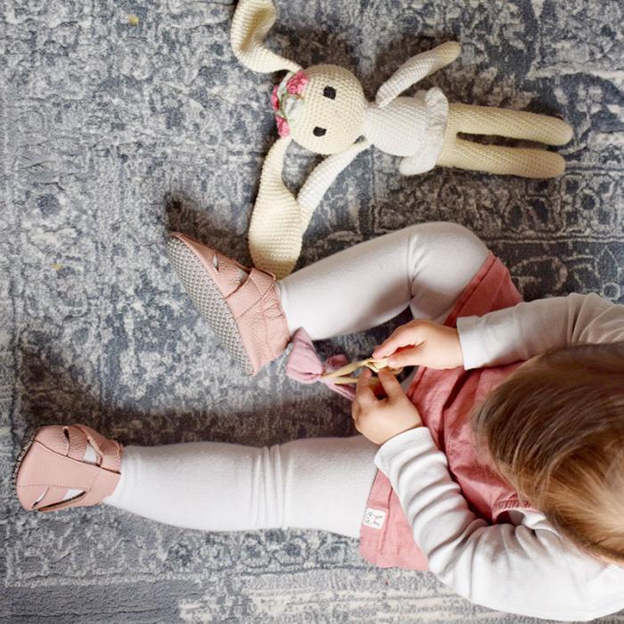 Sandale cu talpă moale Liliputi cu crampoane antialunecare - Cotton Candy 7