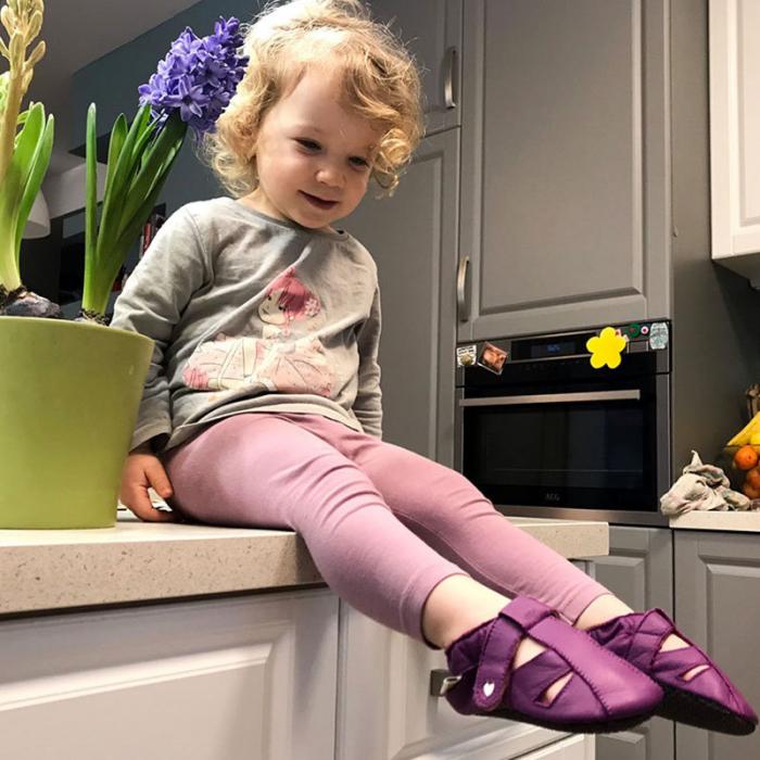 Sandale cu talpă moale Liliputi cu crampoane antialunecare - Fuchsia [4]