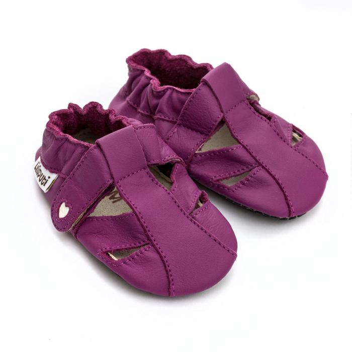 Sandale cu talpă moale Liliputi cu crampoane antialunecare - Fuchsia [1]