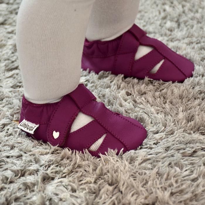 Sandale cu talpă moale Liliputi cu crampoane antialunecare - Fuchsia [7]