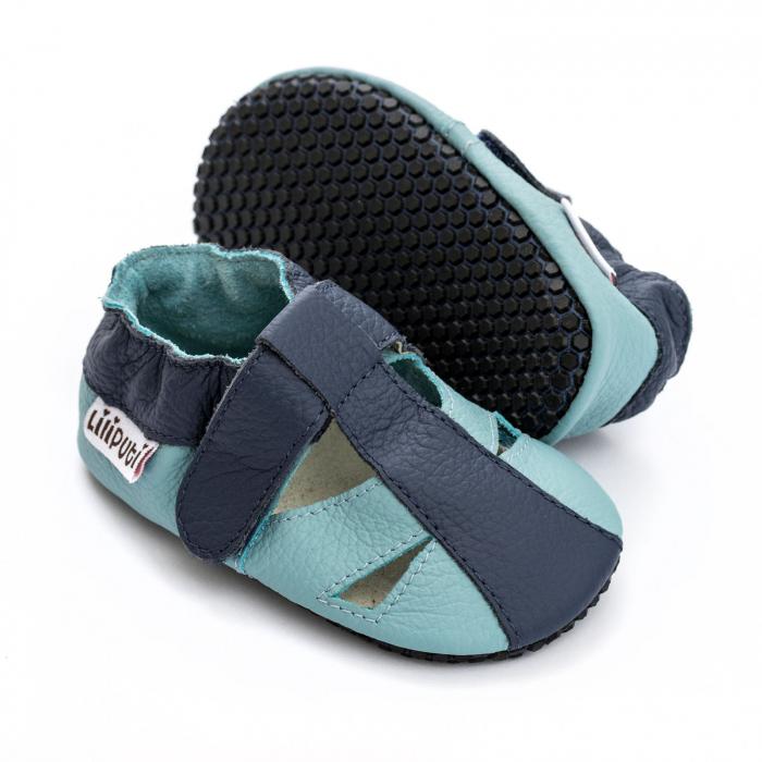 Sandale cu talpă moale Liliputi cu crampoane antialunecare - Sky [0]