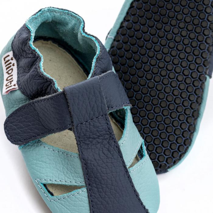 Sandale cu talpă moale Liliputi cu crampoane antialunecare - Sky [2]