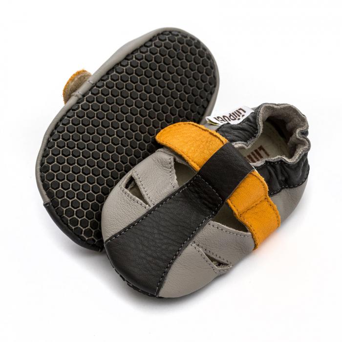 Sandale cu talpă moale Liliputi cu crampoane antialunecare - Yellowstone 0