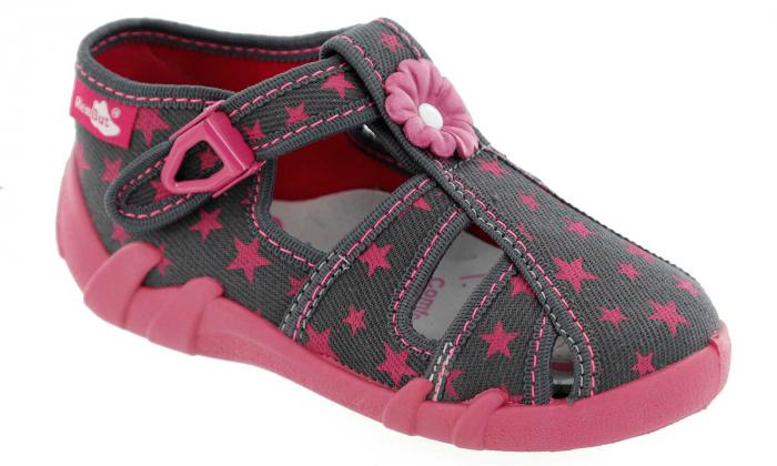 Sandale fete cu floricel si stelute (cu catarama), din material textil 1