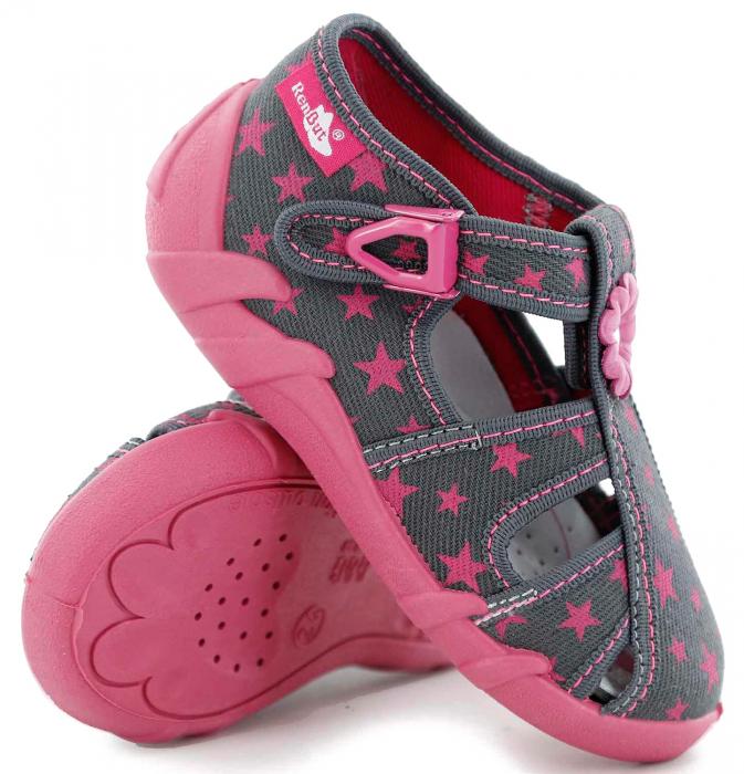 Sandale fete cu floricel si stelute (cu catarama), din material textil 0