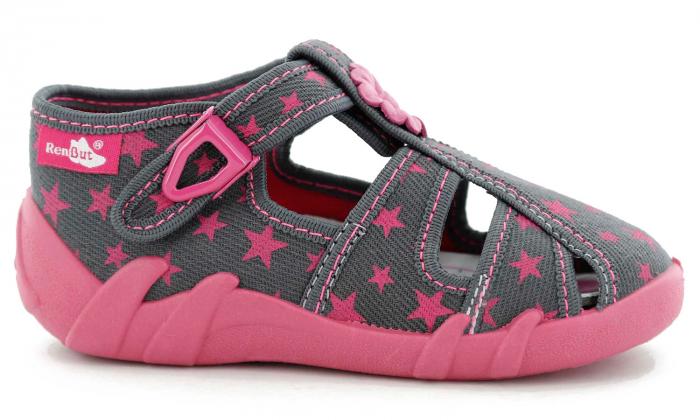 Sandale fete cu floricel si stelute (cu catarama), din material textil 2