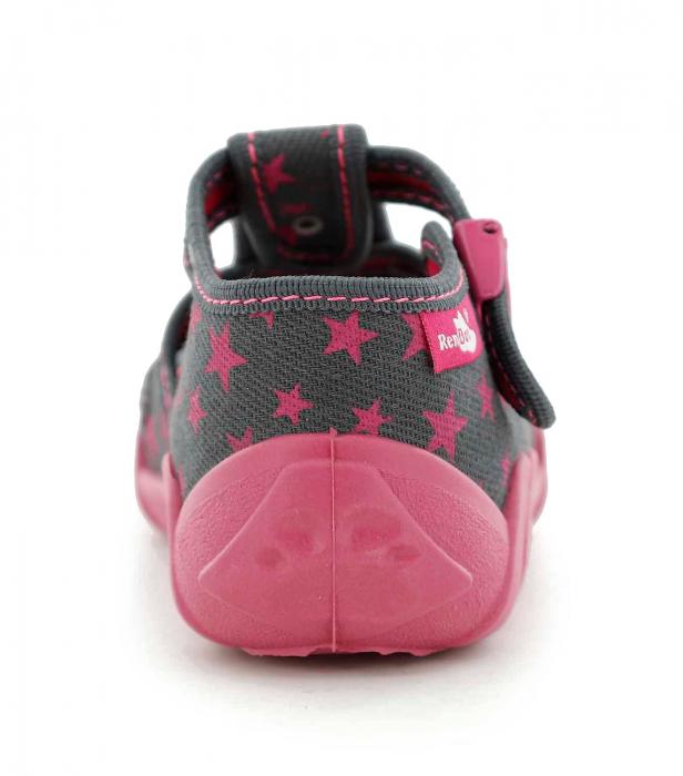 Sandale fete cu floricel si stelute (cu catarama), din material textil 5