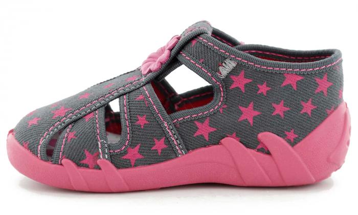 Sandale fete cu floricel si stelute (cu catarama), din material textil 3