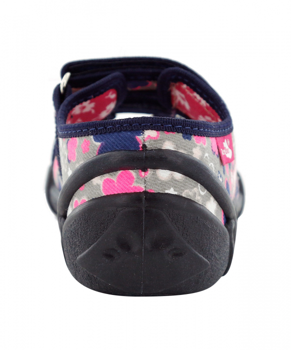 Sandale fete cu motive florale (cu scai), din material textil 5