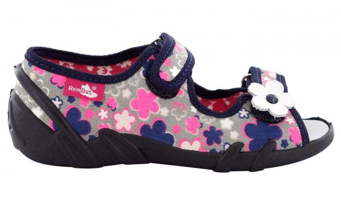 Sandale fete cu motive florale (cu scai), din material textil 2