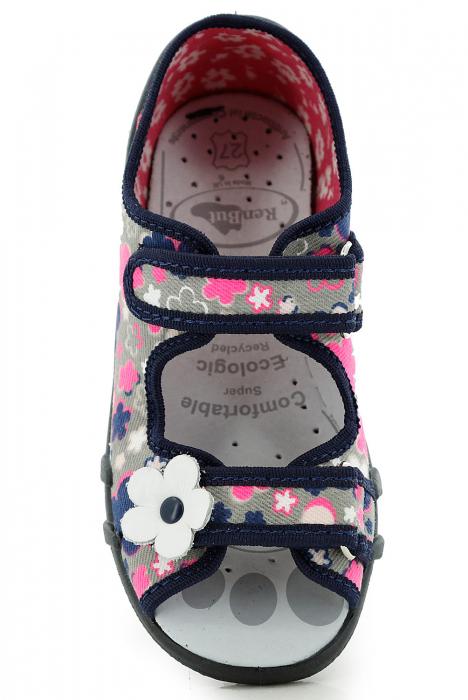 Sandale fete cu motive florale (cu scai), din material textil 4