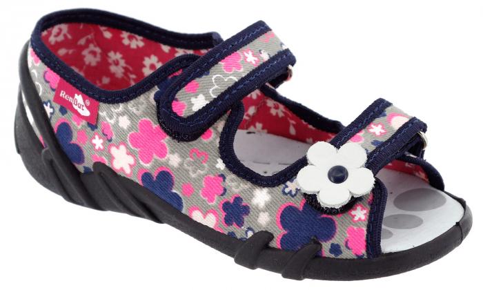 Sandale fete cu motive florale (cu scai), din material textil 1