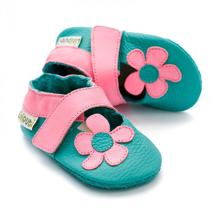 Sandale cu talpă moale Liliputi® - Kalahari Turquoise 0