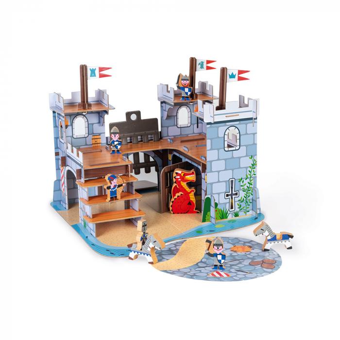 Set de joacă din lemn mini povești - Castelul fortificat și dragon - Janod J08582 [0]