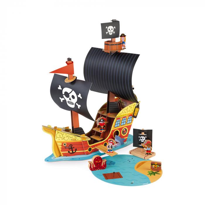 Set de joacă din lemn mini povești - Corabie de pirați - Janod J08579 0