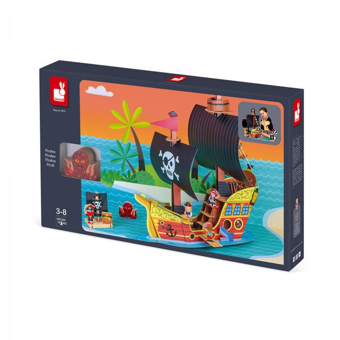 Set de joacă din lemn mini povești - Corabie de pirați - Janod J08579 1