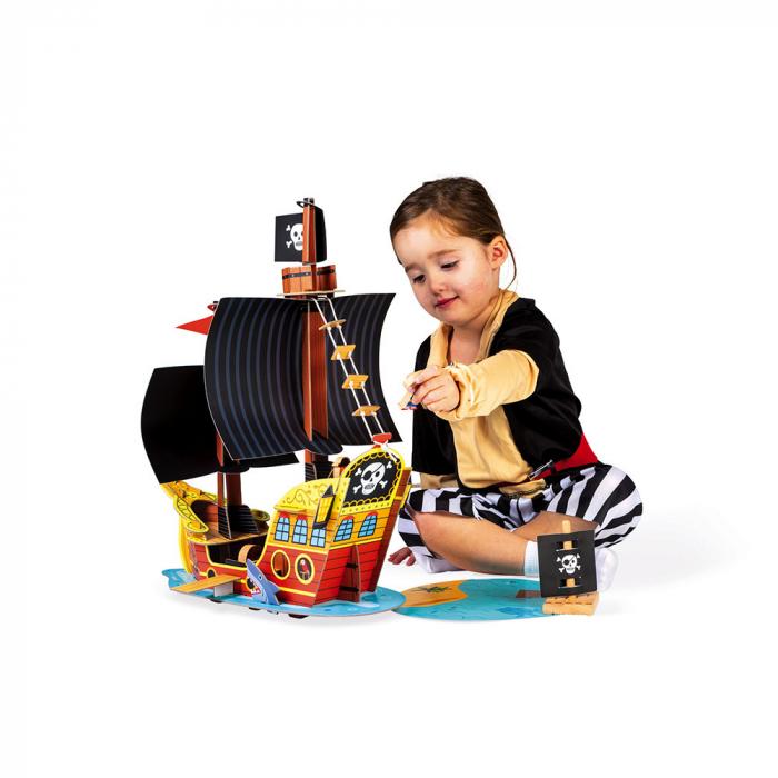 Set de joacă din lemn mini povești - Corabie de pirați - Janod J08579 4