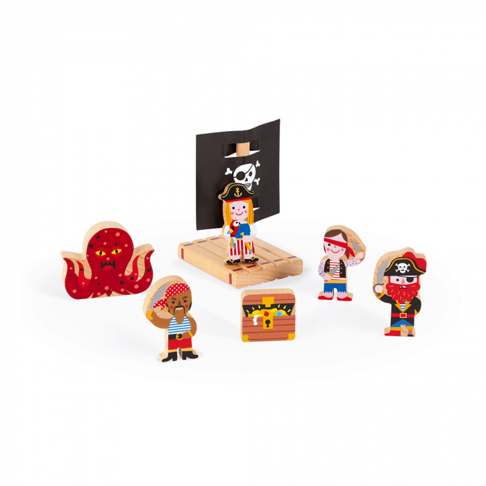 Set de joacă din lemn mini povești - Corabie de pirați - Janod J08579 5