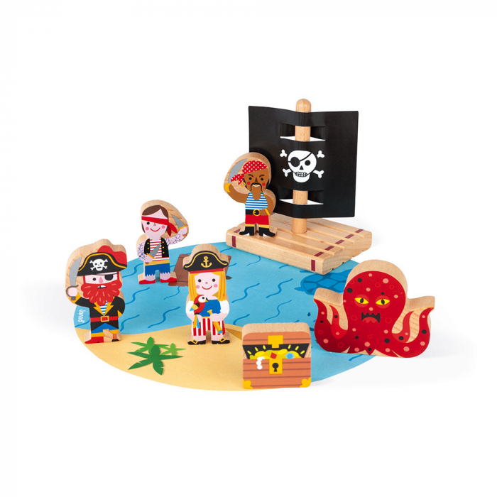 Set de joaca din lemn mini povești - Set de pirați - Janod J08580 0