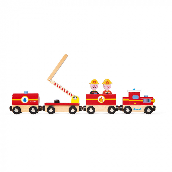 Set de joacă din lemn mini povești - Tren de pompieri - Janod J08590 [0]