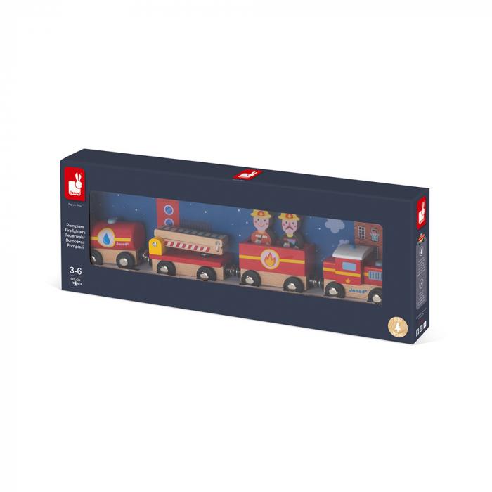 Set de joacă din lemn mini povești - Tren de pompieri - Janod J08590 [1]