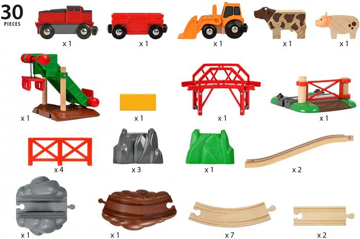 Set trenuleț animale fermă, Brio 33984 9