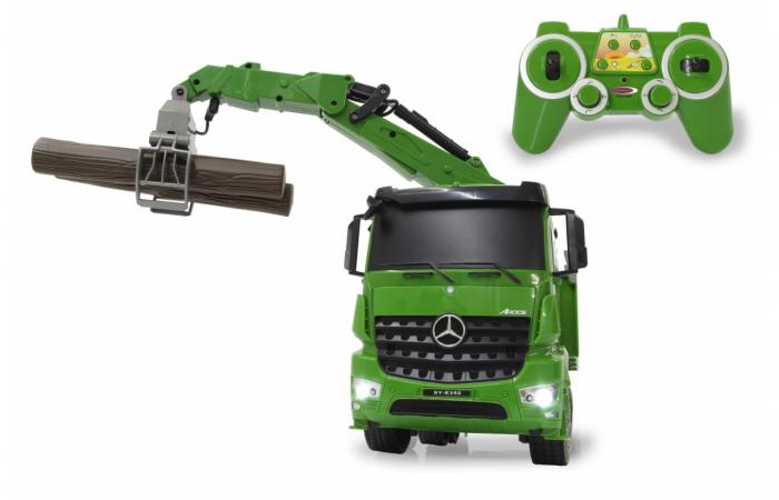 Transportor de cherestea cu telecomandă Mercedes-Benz Arocs 1:20, Jamara 404935 0
