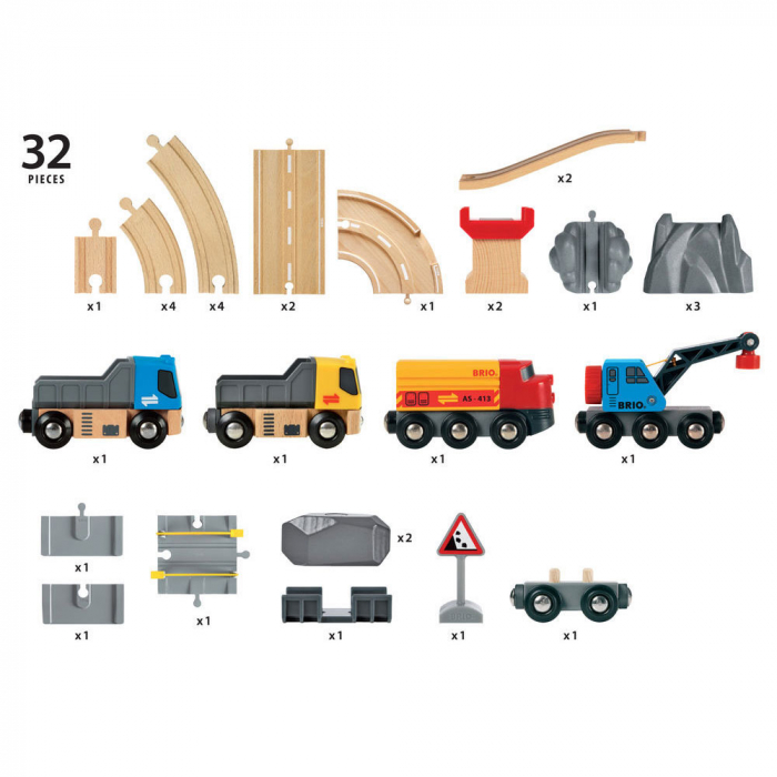 Un set conținând șosea și cale ferată pentru carieră, Brio 33210 [6]