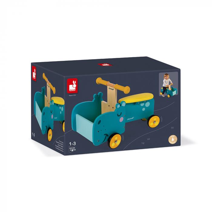 Vehicul din lemn - Hipopotam cu depozitare - Janod J08003 1