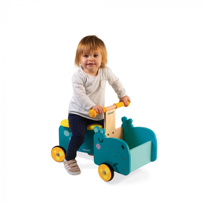Vehicul din lemn - Hipopotam cu depozitare - Janod J08003 2