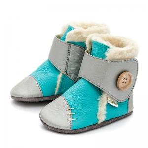 Cizme cu talpă moale Liliputi® - Snowflake Turquoise