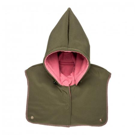 Glugă și fular de încălzire a gâtului pentru bebeluși Liliputi - Olive-Pink0