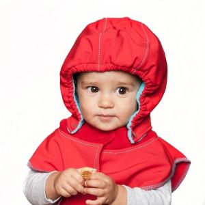Glugă și fular de încălzire a gâtului pentru bebeluși Liliputi® - Red-turquoise1