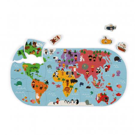 Jucării de baie - Puzzle harta lumii - 28 de piese și 4 vehicule din spumă, Janod J047190