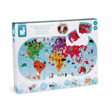 Jucării de baie - Puzzle harta lumii - 28 de piese și 4 vehicule din spumă, Janod J047199