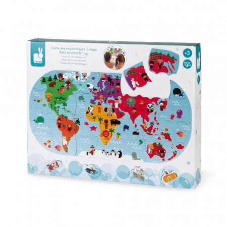 Jucării de baie - Puzzle harta lumii - 28 de piese și 4 vehicule din spumă, Janod J047191