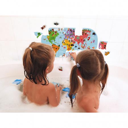 Jucării de baie - Puzzle harta lumii - 28 de piese și 4 vehicule din spumă, Janod J047192