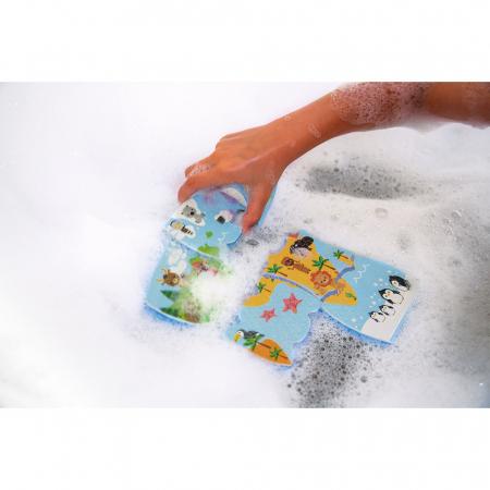 Jucării de baie - Puzzle harta lumii - 28 de piese și 4 vehicule din spumă, Janod J047193