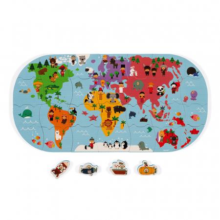 Jucării de baie - Puzzle harta lumii - 28 de piese și 4 vehicule din spumă, Janod J047195