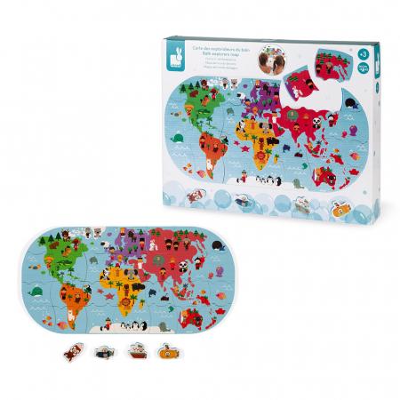 Jucării de baie - Puzzle harta lumii - 28 de piese și 4 vehicule din spumă, Janod J047197