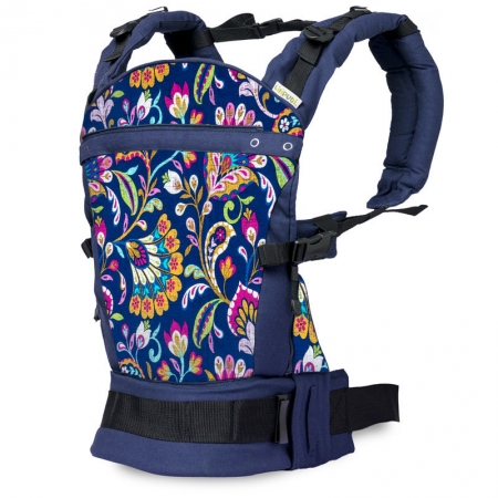 Marsupiu ergonomic SSC Liliputi® Rainbow line - Peacock Bloom1