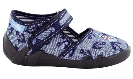Pantofi baieti cu ancora brodata (cu scai), din material textil [2]