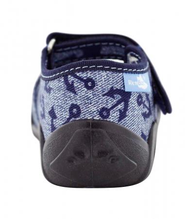 Pantofi baieti cu ancora brodata (cu scai), din material textil [5]