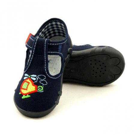 Pantofi baieti cu elicopter brodat (cu catarama), din material textil2
